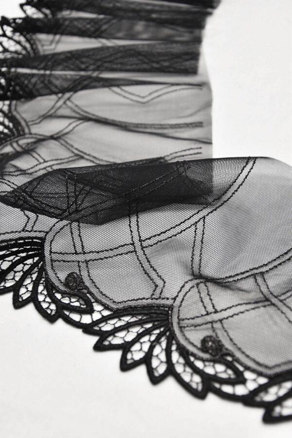 Кружево отделочное стрейч черное с листочками (t0541) т-20 - Фото 7