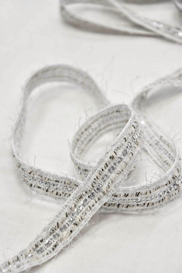 Тесьма твидовая белая с серым и серебристой цепью (t0409, 0562) к-14 - Фото 11