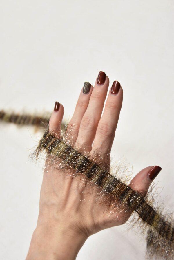 Тесьма коричневая беж с люрексом и бахромой (t0563) т-7 - Фото 8