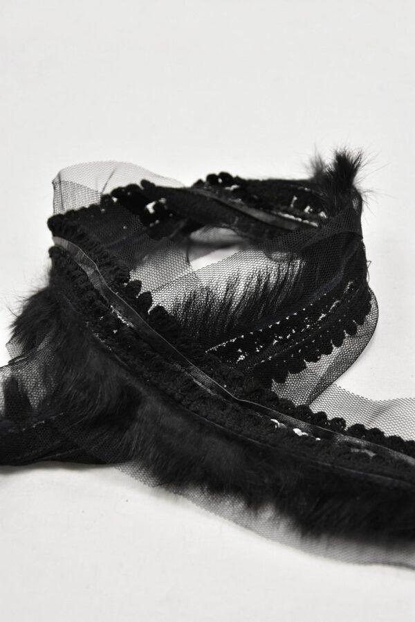 Тесьма черная с мехом кожей и пайетками (t0584) т-5 - Фото 7