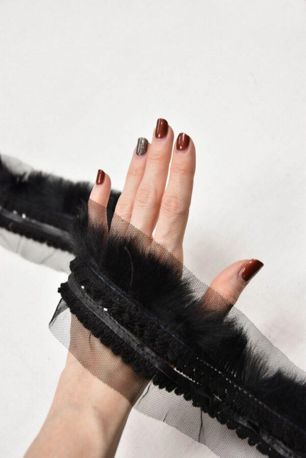 Тесьма черная с мехом кожей и пайетками (t0584) т-5 - Фото 8