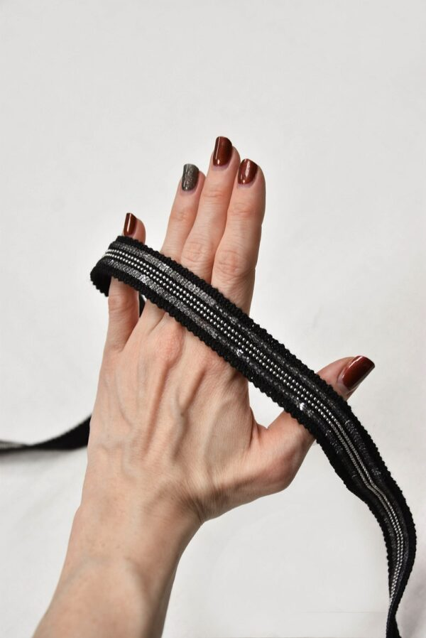 Тесьма черная с серебряными пайетками и цепью (t0588) т-8 - Фото 9
