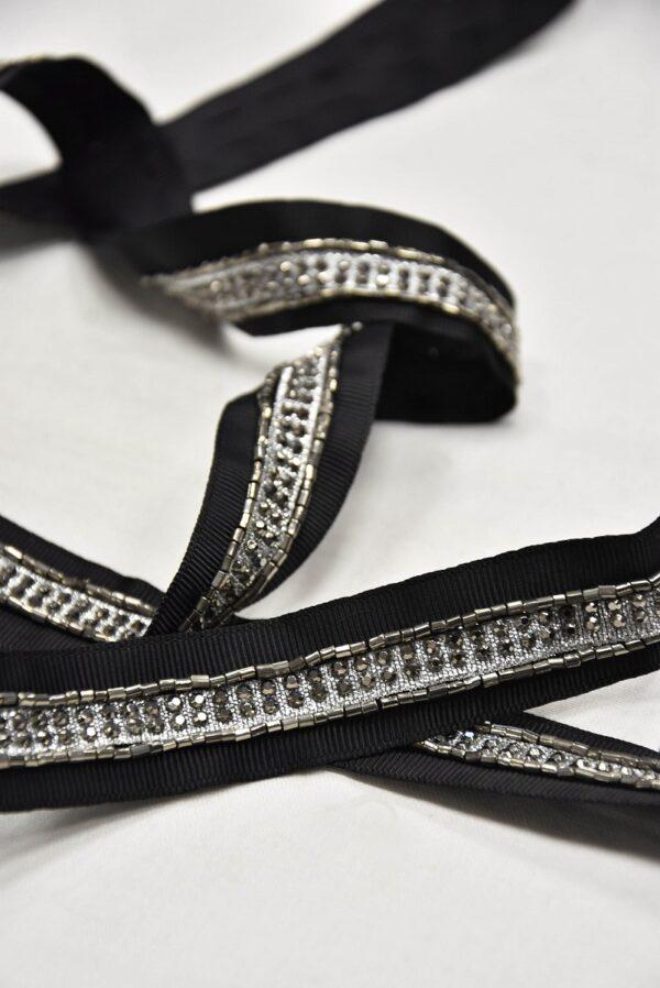 Тесьма репсовая черная с кристаллами и стеклярусом (t0592) т-19 - Фото 7