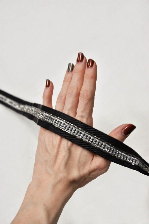 Тесьма репсовая черная с кристаллами и стеклярусом (t0592) т-19 - Фото 8