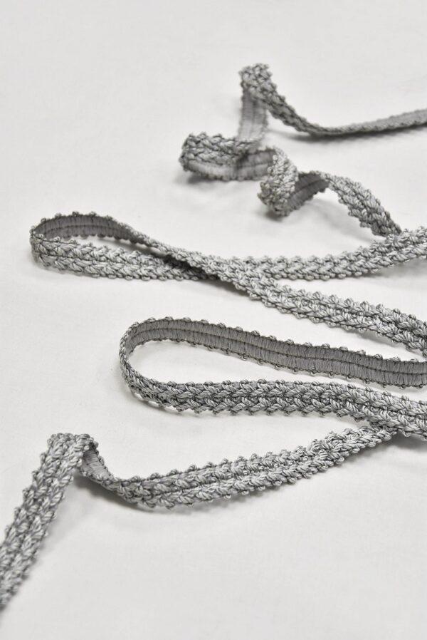 Тесьма отделочная плетеная светло-серая (t0596) т-5 - Фото 6