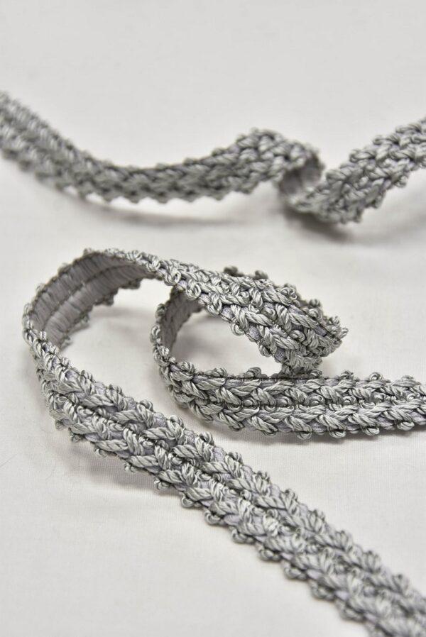 Тесьма отделочная плетеная светло-серая (t0596) т-5 - Фото 7