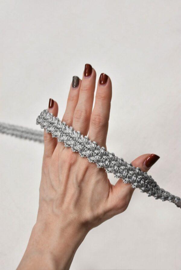 Тесьма отделочная плетеная светло-серая (t0596) т-5 - Фото 8