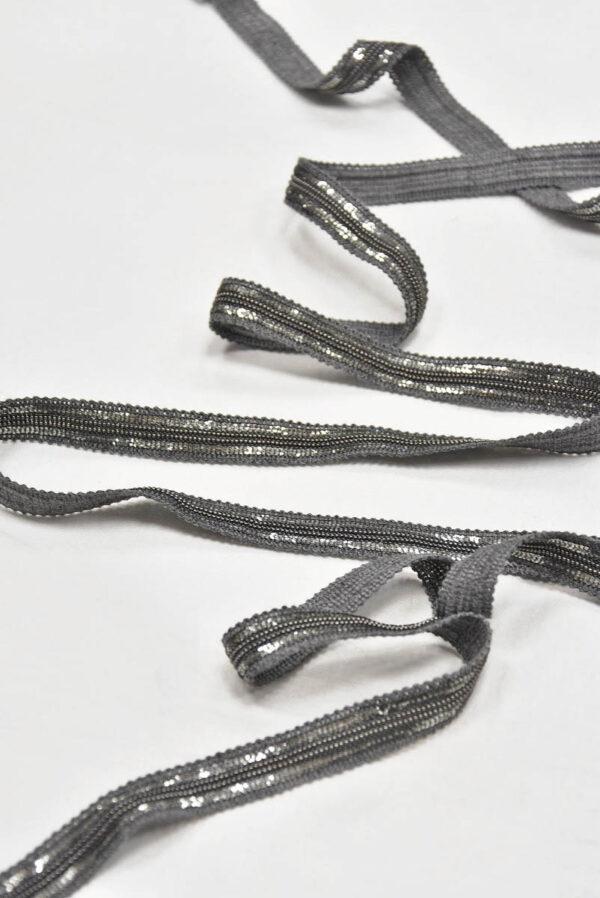 Тесьма серая с серебряными пайетками и цепью