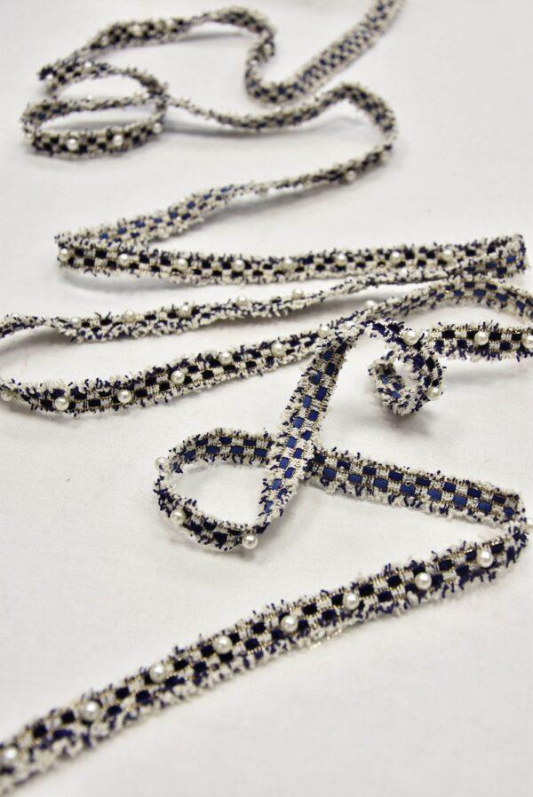 Тесьма белая с синим жемчуг люрекс (t0618) т-15 - Фото 6