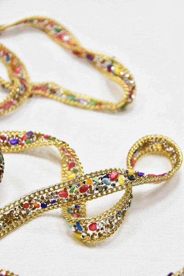 Термо тесьма с разноцветными камнями кристаллами и золотой цепью 1