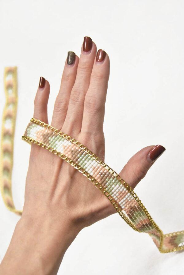 Термо тесьма с золотой цепочкой и мерцающей мозаикой 2