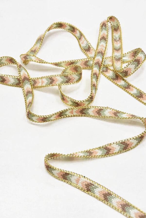Термо тесьма с золотой цепочкой и мерцающей мозаикой