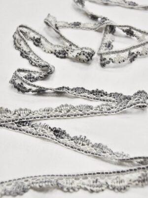 Тесьма шерсть кружевная бело-серая ажурная (t0633) т-5 - Фото 9