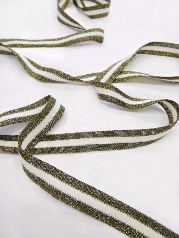 Лампасы с люрексом белые в оливковую в полоску (t0638) т-1 - Фото 6