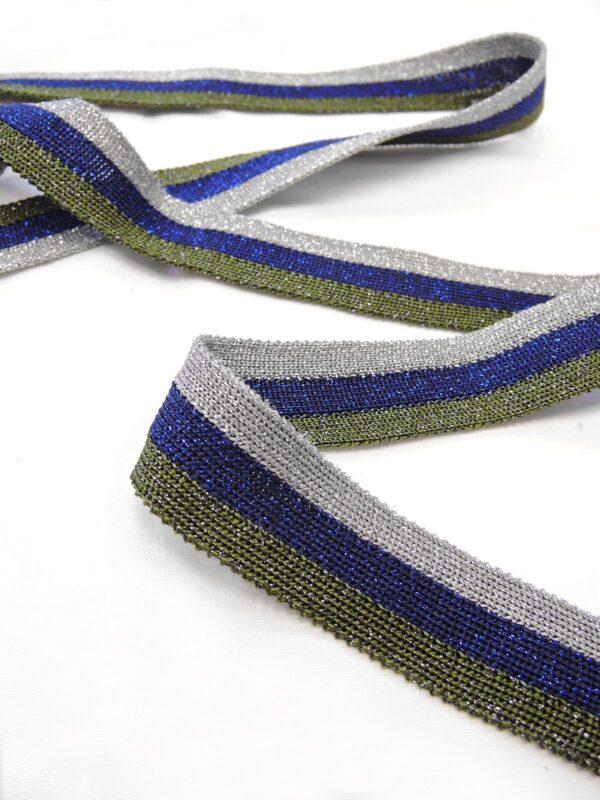 Лампасы в серебристую синюю и зеленую полоску с люрексом (t0650) т-1 - Фото 8
