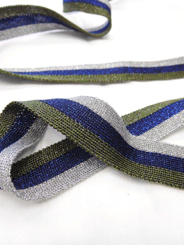 Лампасы в серебристую синюю и зеленую полоску с люрексом (t0650) т-1 - Фото 7