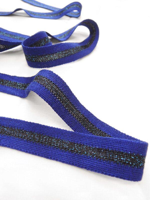 Лампасы синий элекстрик в полоску с люрексом (t0656) т-1 - Фото 7