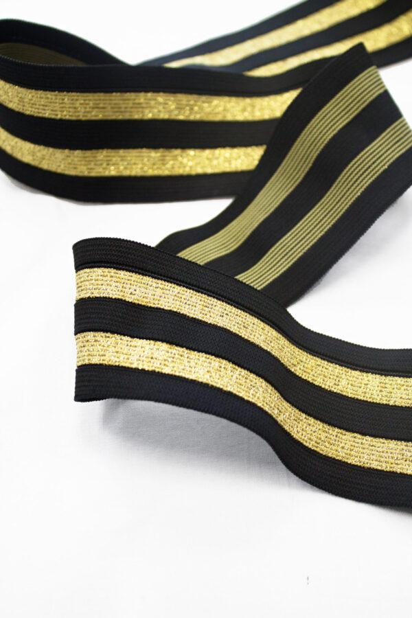 Резинка-лампас широкая черная с золотым люрексом (t0657) т-16 - Фото 7