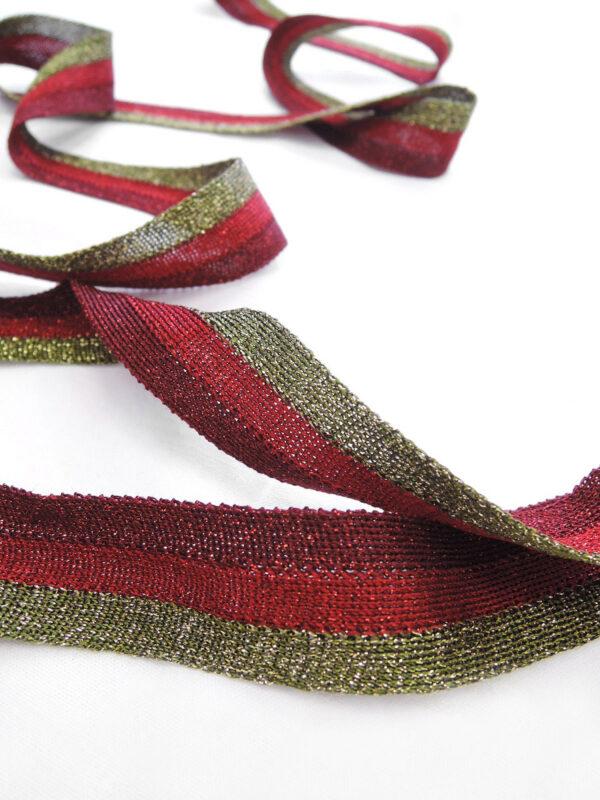Лампасы в полоску бордо красный и оливка (t0658) т-18 - Фото 7