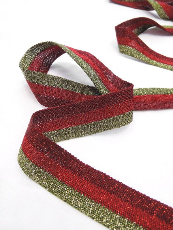 Лампасы в полоску бордо красный и оливка (t0658) т-18 - Фото 8