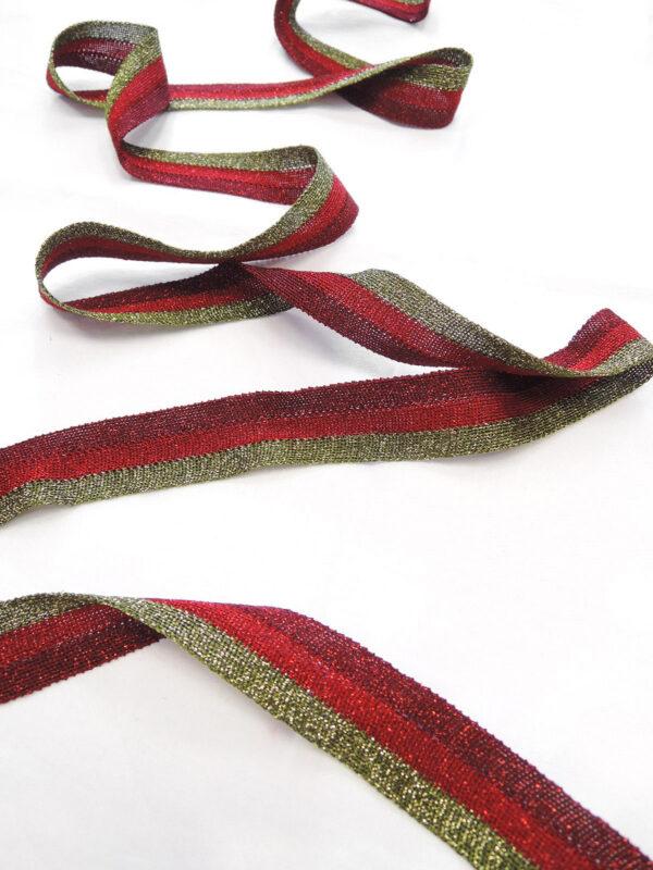 Лампасы в полоску бордо красный и оливка (t0658) т-18 - Фото 6