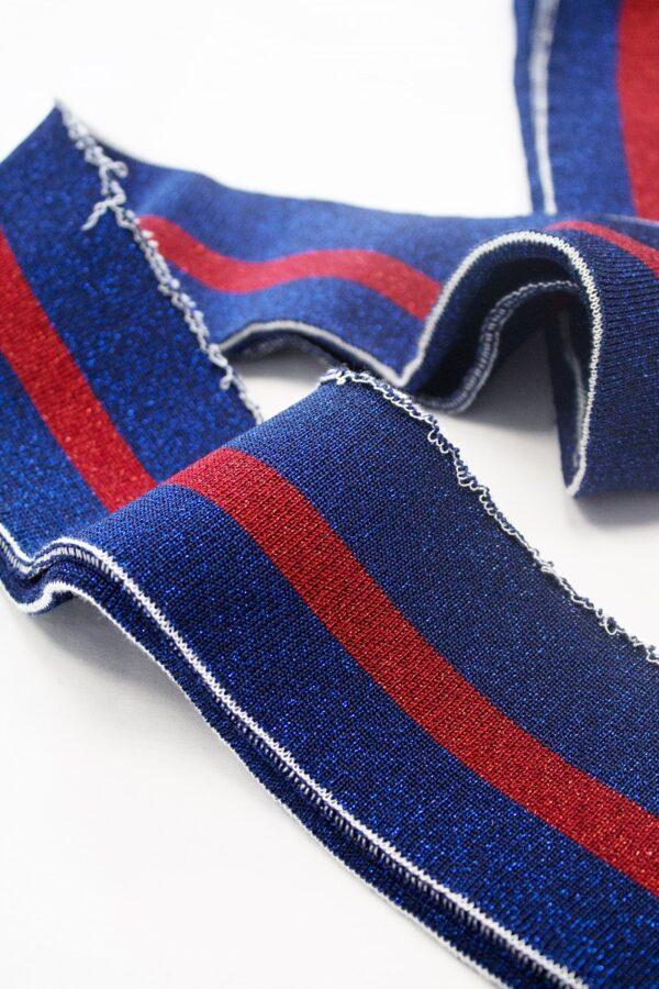 Подвязы синий оттенок с красной полоской с люрексом (t0679) - Фото 8