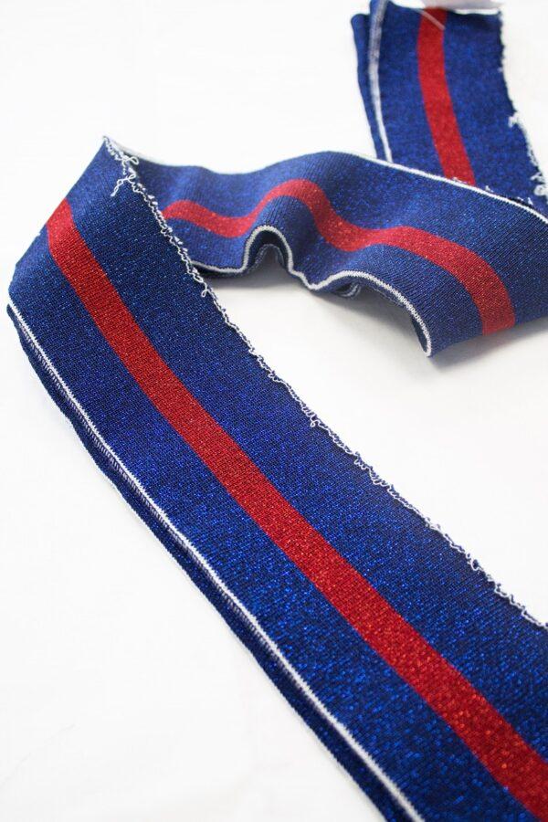 Подвязы синий оттенок с красной полоской с люрексом (t0679) - Фото 6