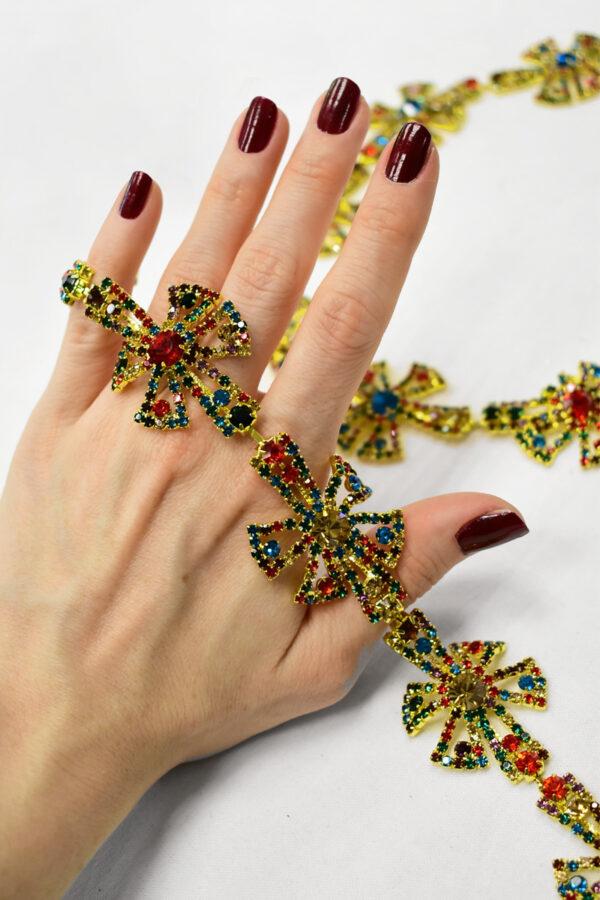 Тесьма металл золото с разноцветными камнями 1