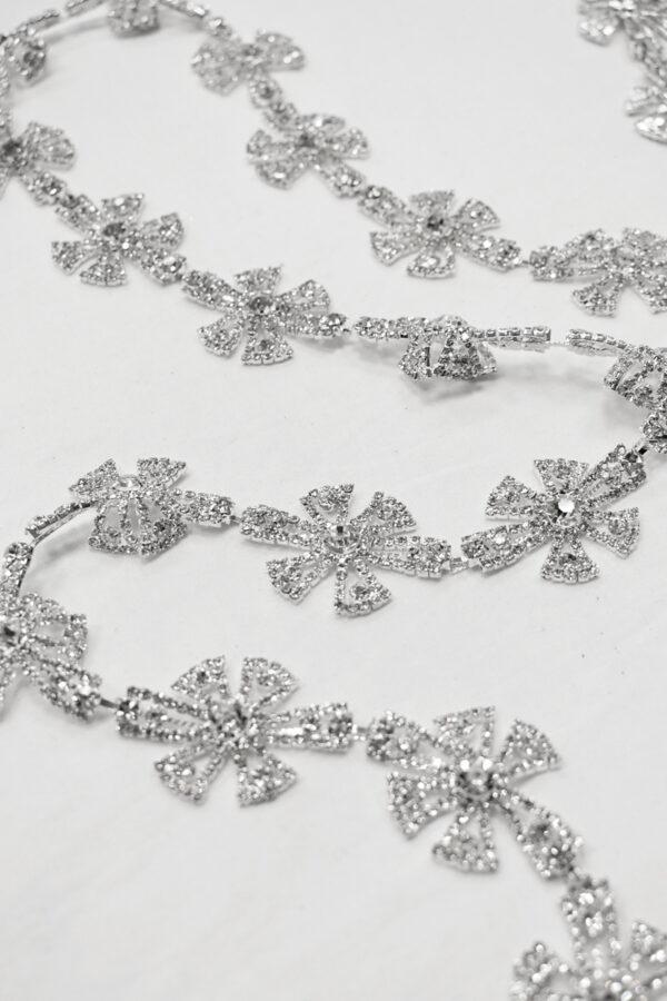 Тесьма металл серебро хрусталь стразы (t0687) - Фото 6