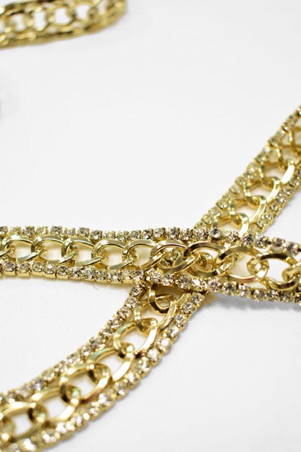 Тесьма цепь золотая с хрустальными стразами 1