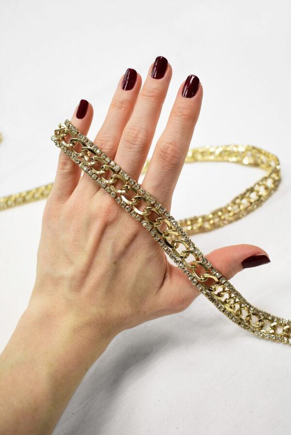 Тесьма цепь золотая с хрустальными стразами 2