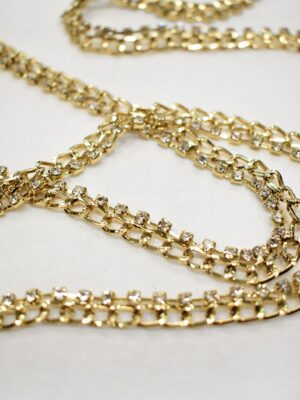 Тесьма цепь золотая узкая со стразами (t0689) т-19 - Фото 13