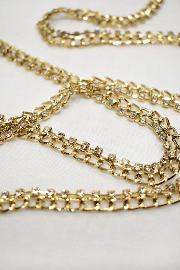 Тесьма цепь золотая узкая со стразами (t0689) т-19 - Фото 7
