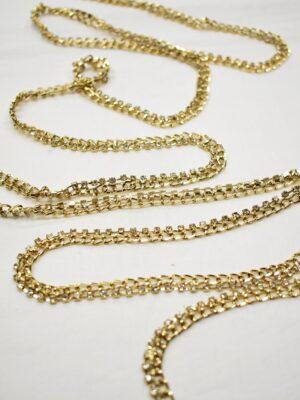 Тесьма цепь золотая узкая со стразами (t0689) т-19 - Фото 12