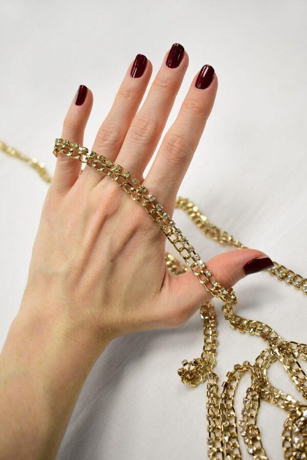 Тесьма цепь золотая узкая со стразами (t0689) т-19 - Фото 9