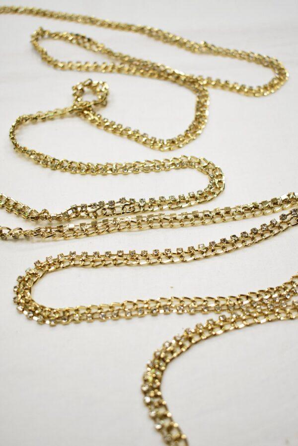Тесьма цепь золотая узкая со стразами (t0689) т-19 - Фото 6