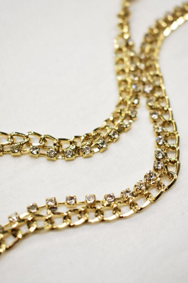 Тесьма цепь золотая узкая со стразами (t0689) т-19 - Фото 8