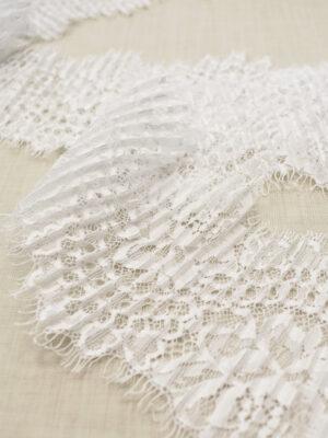 Кружево плиссе отделочное белое с цветами (t0691) - Фото 17