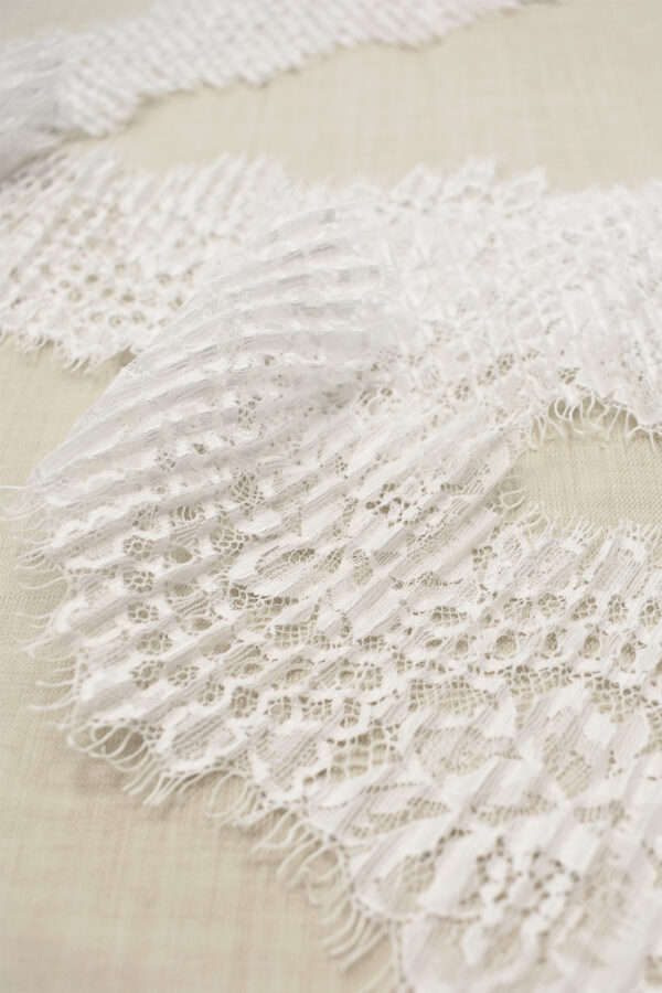Кружево плиссе белое с цветами (t0691) т-23 - Фото 7
