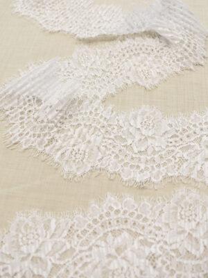 Кружево плиссе отделочное белое с цветами (t0691) - Фото 16