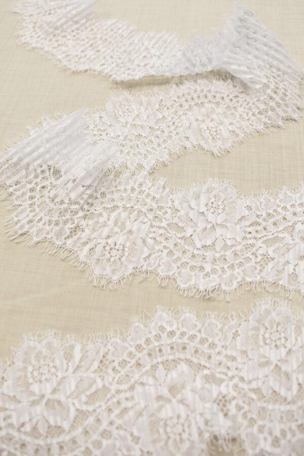 Кружево плиссе белое с цветами (t0691) т-23 - Фото 6