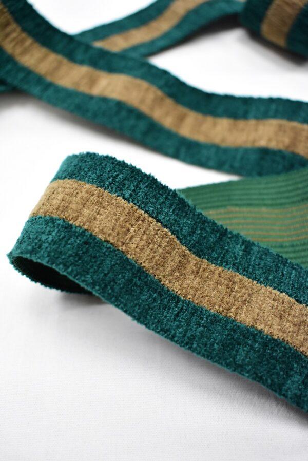 Резинка бархатистая зеленая в бежевую полоску (t0699) т-16 - Фото 7