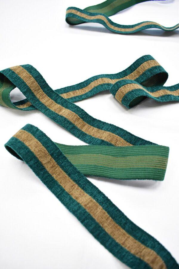 Резинка бархатистая зеленая в бежевую полоску (t0699) т-16 - Фото 6
