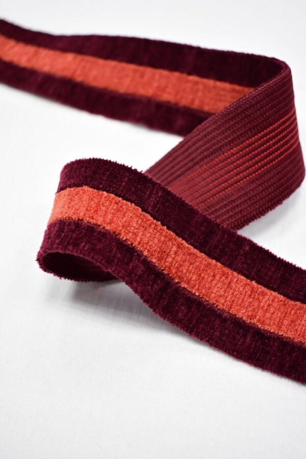 Резинка бархатистая бордо в полоску (t0700) т-16 - Фото 8