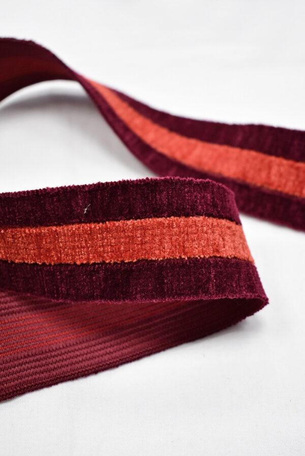 Резинка бархатистая бордо в полоску (t0700) т-16 - Фото 7