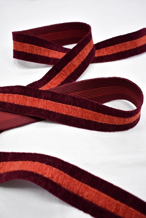 Резинка бархатистая бордо в полоску (t0700) т-16 - Фото 6