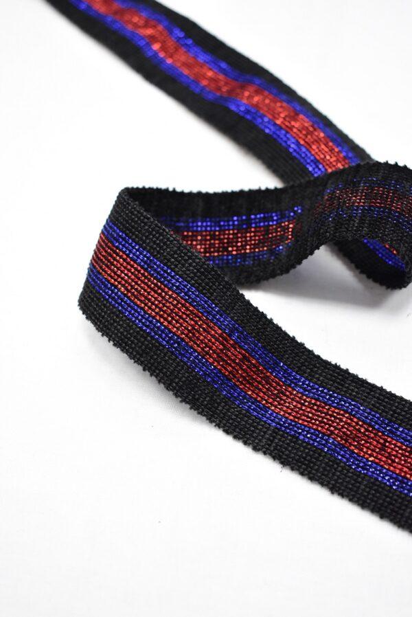 Лампасы с люрексом в черную синюю и красную полоску (t0715) т-12 - Фото 8
