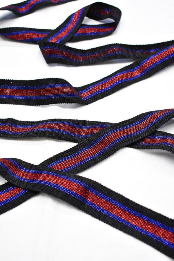 Лампасы с люрексом в черную синюю и красную полоску (t0715) т-12 - Фото 6