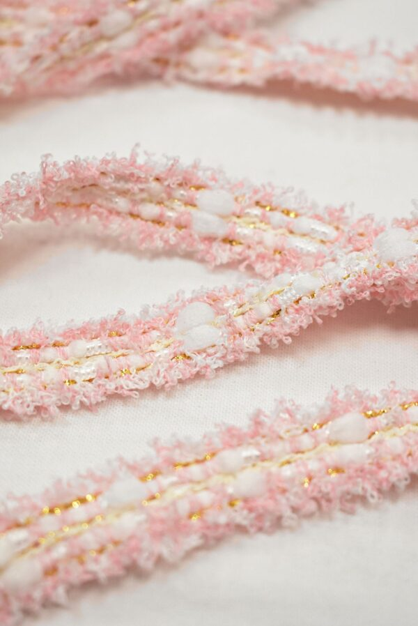 Тесьма розовая с белым бахрома золотой люрекс (t0761) т-24 - Фото 7