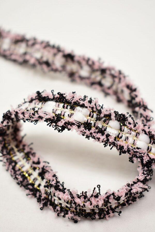 Тесьма розовая с черным белым и золотым люрексом (t0765) т-24 - Фото 7